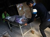 Nepálci vykládají tělo turisty, který v Himálaji zahynul v prudké vánici (17....