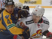 Petr Koukal z Jokeritu Helsinky (v bílém) a Vitalij Novopa�in z Atlantu.