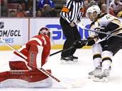 Bostonský útočník David Krejčí v úspěšném nájezdu na gólmana Jimmyho Howarda z Detroitu.