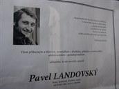 Parte oznamující úmrtí Pavla Landovského. (17. října 2014)