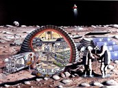 Představa obytného a těžebního komplexu na měsíci podle ilustrátora NASA.