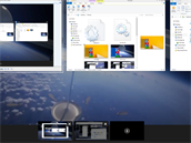 Práce s virtuálními plochami ve Windows je přístupná přes k tomu určené tlačítko. Všechny spuštěné aplikace na všech plochách vidíte na klasické liště s tím, že ty běžící na jiných plochách jsou podtržené. Mají tedy pod ikonkou aplikace tenkou čáru,