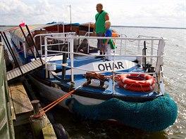 Łebsko jezioro. Výletní lodě tu jezdí poměrně  pravidelně.