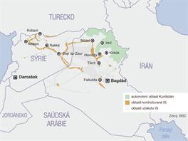 Území v Iráku a Sýrii ovládaná bojovníky Islámského státu