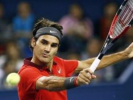 Roger Federer během semifinále na turnaji v Šanghaji