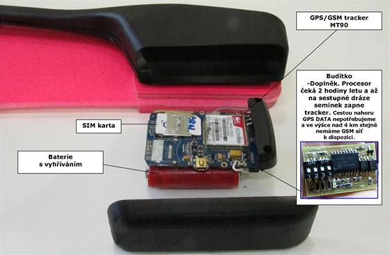 GPS tracker MT90 byl zbaven všeho nepotřebného a doplněn Budítkem. Po dvou hodinách letu Budítko stiskne tlačítko na trackeru MT90. Ten se probudí, zjistí pomocí GPS, kde je, naváže komunikaci s GSM sítí a pošle nám opakovaně po třech minutách SMS se svou polohou. Tedy za letu i na Zemi.