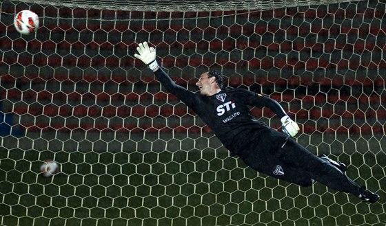 LETÍM PRO MÍC. Momentka zachycuje brazilského gólmana Rogéria Ceniho, jak se...