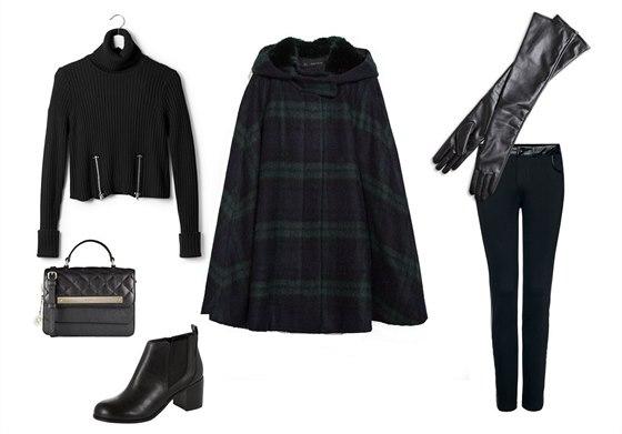 Kostkovaná vlněná pelerína, Zara, 2999 Kč; černý svetr se zipy, Jean Paul...