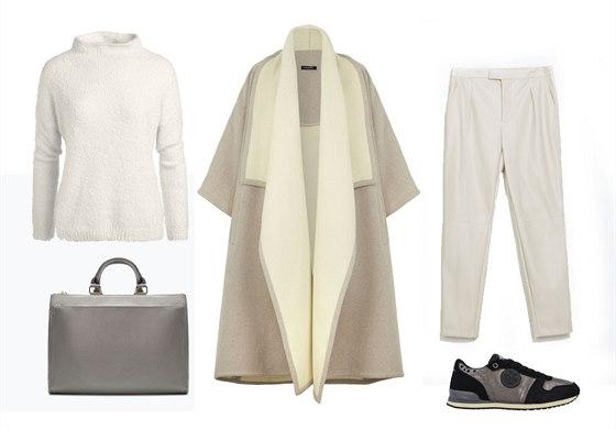 Šedý maxi kabát, Marks&Spencer, 5199 Kč; bílý svetr, Lindex, 699 Kč; kalhoty z...