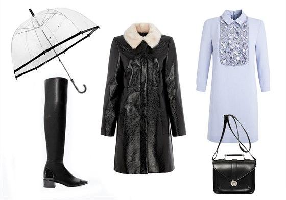 Lesklý černý kabát s kožešinovým límcem, Marks&Spencer, 3299 Kč; světle modré...