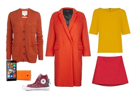 Oranžový kabát, Marks&Spencer, 5999 Kč; oranžový propínací svetr, Lindex, 799...