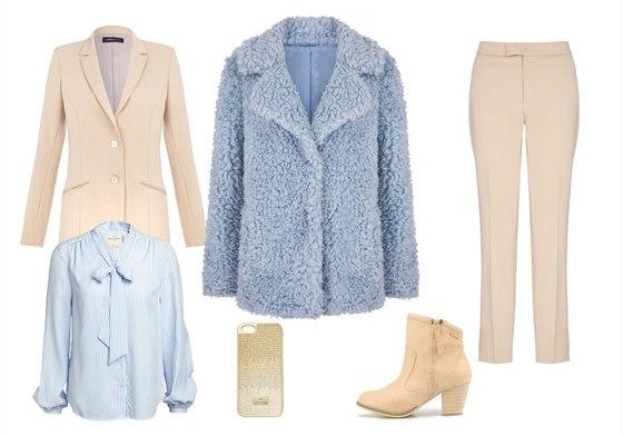 Pastelový modrý kabát Red Herring, Debenhams, info o ceně v obchodě; béžové...