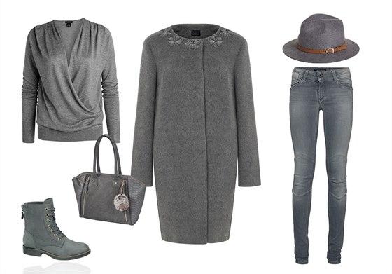 Šedý kabát se skrytým zapínáním, Marks&Spencer, 4099 Kč; šedý svetr, Lindex,...
