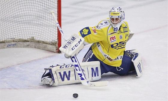 Zlínský gólman Libor Kašík v akci
