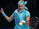 Česká tenistka Petra Kvitová hraje na Turnaji mistryň proti Radwaňské.