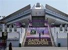 Pohled na halu, která v Singapuru hostí prestižní tenisový Turnaj mistryň.