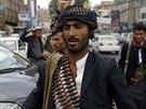Hútíové v Sanaa (9. října 2014).