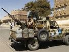 Hútíové v Sanaa (20. října 2014).