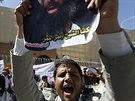 Protesty u ambasády Saúdské Arábie v Sanaa proti rozsudku trestu smrti šejka...