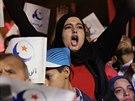 Příznivci Ennahdy před volbami (24. října 2014).