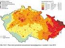 Průměrné koncentrace benzo[a]pyrenu v ovzduší v roce 2013.