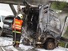Hromadná nehoda na dálnici D2 u Brna ve směru na Bratislavu (23. října, 2014).