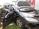 Hromadn� nehoda na d�lnici D2 u Brna ve sm�ru na Bratislavu (23. ��jna, 2014).