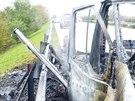 Požár karavanu na dálnici D2 (26. října, 2014).