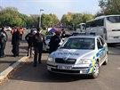 Zajištěný vůz Zdeňka Ponerta po incidentu na pražském Vítkově (28. října 2014)