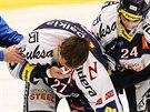 Zraněný vítkovický útočník Peter Húževka opouští led.