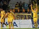 Jihlavští fotbalisté se radují z gólu v zápase s Brnem.