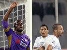 Khouma Babacar z Fiorentiny slaví svůj gól proti Udine,
