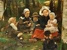 Václav Brožík, Černé jahody, olej na dřevě, 1899