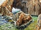 František Kupka, Moře na francouzském jihu, akvarel na papíře