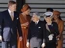Nizozemský král Willem-Alexander, královna Máxima, japonský císař Akihito,...
