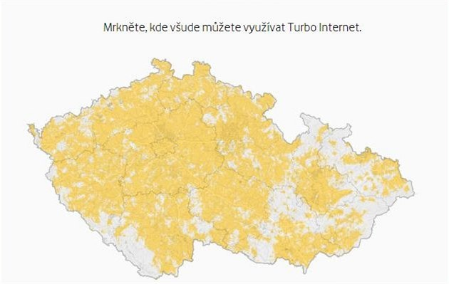 Pokrytí �R Turbo Internetem Vodafone