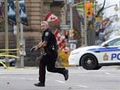 Kanadský policista v centru Ottawy (22. �íjna 2014)