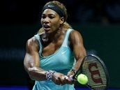 Serena Williamsová v semifinále Turnaje mistryň proti Caroline Wozniacké.