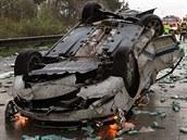 Hromadná nehoda na dálnici D2 u Brna ve sm�ru na Bratislavu (23. �íjna, 2014).