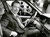 Václav Havel za volantem �kody Felicie