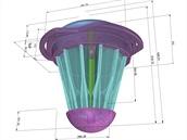 Dropion 2.0 navrhnutý ve 3D softwaru Rhinoceros.