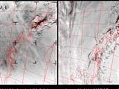 Srovnání dvou generací. Vlevo je snímek ze satelitu Nimbus-1, vpravo je o půlstoletí mladší snímek ze satelitu MODIS. I když úroveň detailů je při originálním rozlišení nesrovnatelná, odborníky prý překvapilo, kolik informací lze vyčíst i ze starých snímků v 16bitové šedé škále.