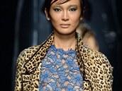 Kabát s leopardím vzorem Ermanno Scervino, kolekce podzim - zima 2014/2015
