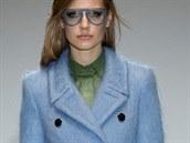 Bleděmodrý retro kabát Gucci, kolekce podzim - zima 2014/2015