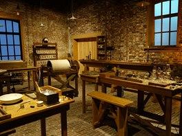 Pohled do zrekonstruovaného interiéru původní továrny. Dnes slouží jako muzeum....