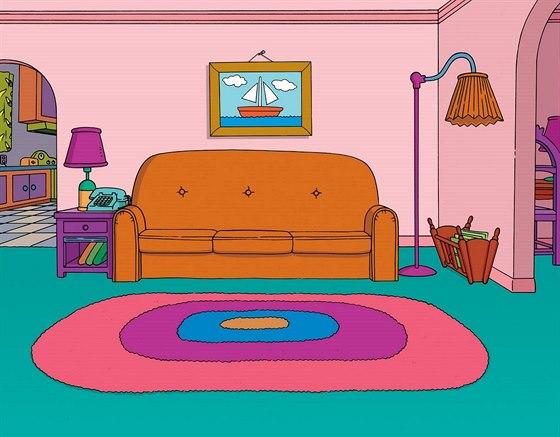 Červený gauč rodinky Simpsonových