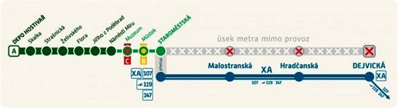 Mezi Starom�stskou a Dejvickou nepojede v sobotu ve�er metro.