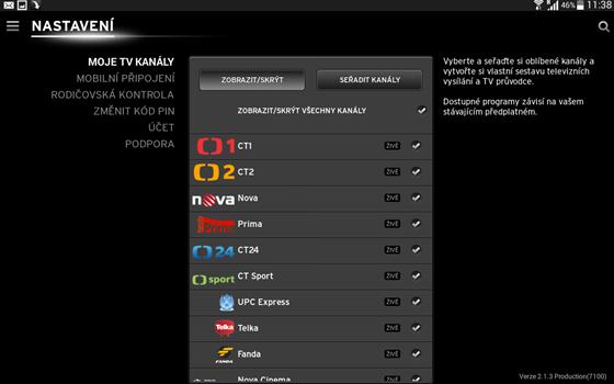V menu můžete utřídit výběr stanic, nastavit pravidla pro mobilní připojení a...