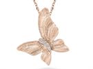 Růžové zlato se těší stále většímu zájmu. Přívěsek Alo Sun Butterfly z 18ti karátového růžového zlata zdobí 4 diamanty a stojí 26 600 korun.