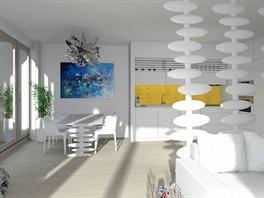 Interiér zařízen ve stylu Hi-Tech, kde bílou barvu a chladný kov protepluje barva žlutá a světlá dřevěná